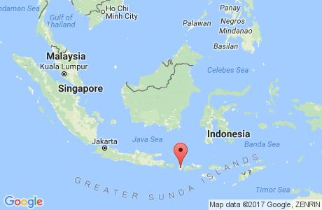 Lombok on a map of Indonesia and Malaysia